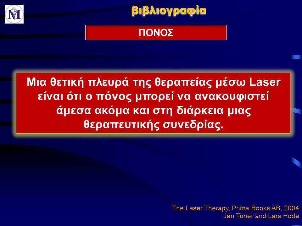 βιβλιογραφίαβιβλιογραφία ΠΟΝΟΣ The Laser Therapy, Prima Books AB, 2004 Jan Tuner and Lars Hode Μια θετική πλευρά της θεραπείας μέσω Laser είναι ότι ο