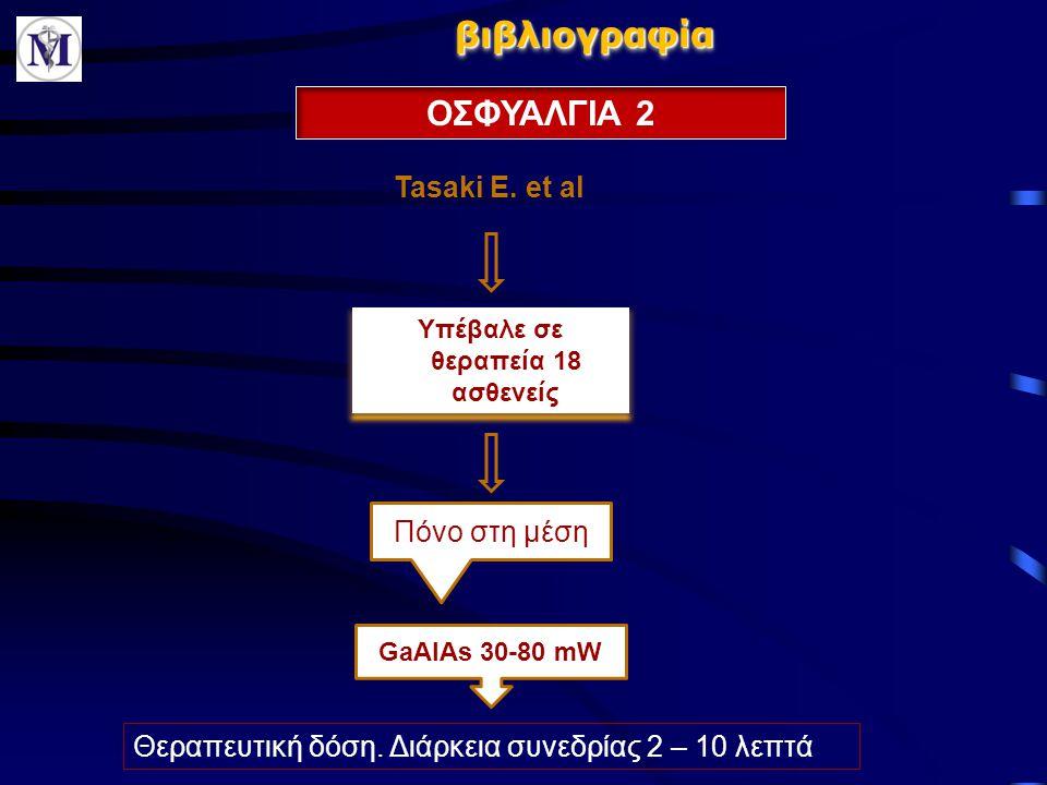 βιβλιογραφίαβιβλιογραφία ΟΣΦΥΑΛΓΙΑ 2 Tasaki E. et al Υπέβαλε σε θεραπεία 18 ασθενείς Πόνο στη μέση GaAlAs 30-80 mW Θεραπευτική δόση. Διάρκεια συνεδρία