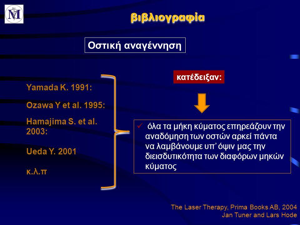 βιβλιογραφίαβιβλιογραφία Οστική αναγέννηση Yamada K. 1991: όλα τα μήκη κύματος επηρεάζουν την αναδόμηση των οστών αρκεί πάντα να λαμβάνουμε υπ' όψιν μ