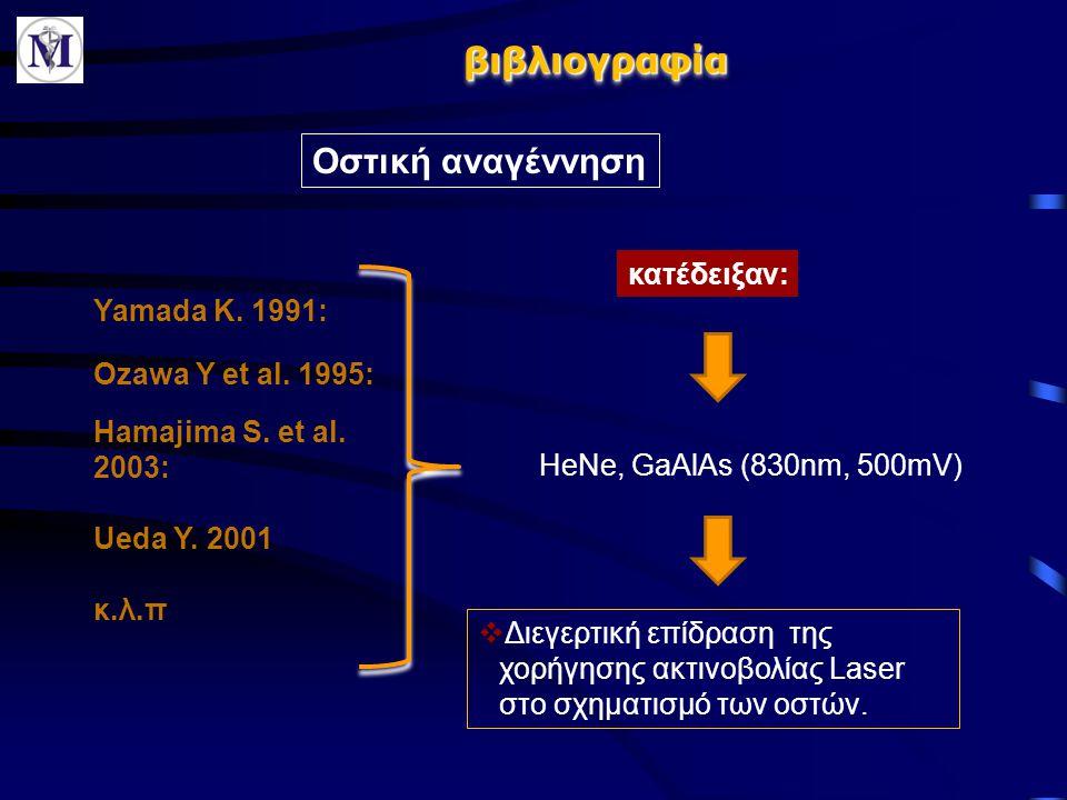 βιβλιογραφίαβιβλιογραφία Οστική αναγέννηση Yamada K. 1991: Hamajima S. et al. 2003: Ueda Y. 2001 κ.λ.π Ozawa Y et al. 1995: κατέδειξαν:  Διεγερτική ε