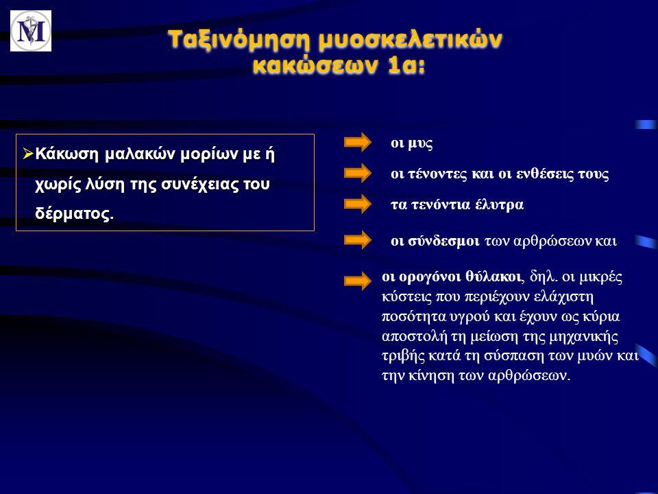Ταξινόμηση μυοσκελετικών κακώσεων 1α: Ταξινόμηση μυοσκελετικών κακώσεων 1α:  Κάκωση μαλακών μορίων με ή χωρίς λύση της συνέχειας του δέρματος. οι μυς