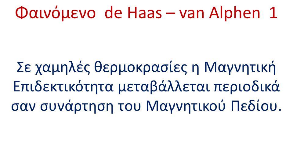 Φαινόμενο de Haas – van Alphen 1 Σε χαμηλές θερμοκρασίες η Μαγνητική Επιδεκτικότητα μεταβάλλεται περιοδικά σαν συνάρτηση του Μαγνητικού Πεδίου.