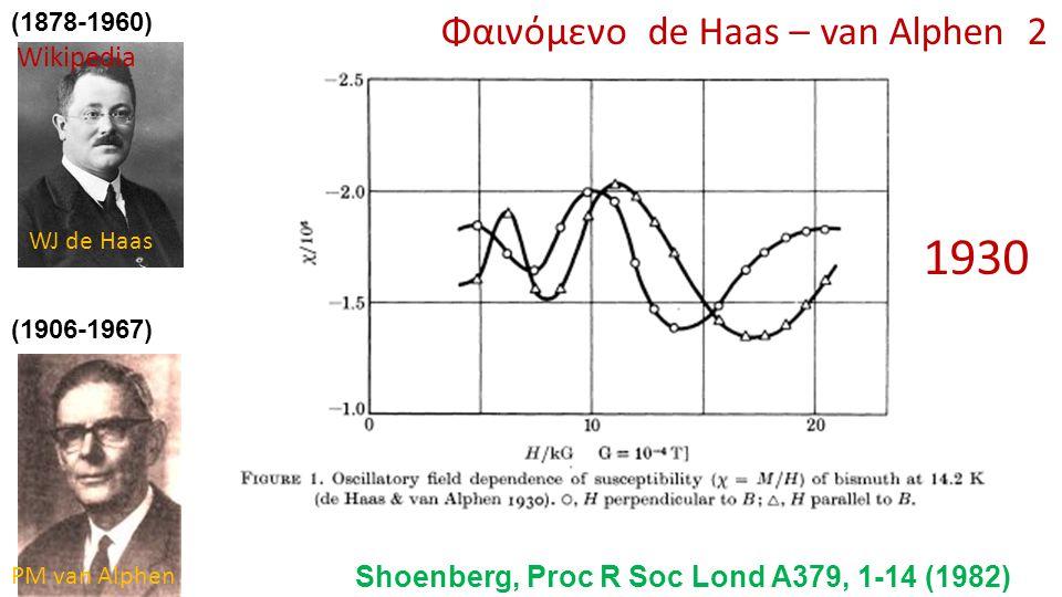 (1878-1960) (1906-1967) Φαινόμενο de Haas – van Alphen 2 1930 Shoenberg, Proc R Soc Lond A379, 1-14 (1982) Wikipedia WJ de Haas PM van Alphen