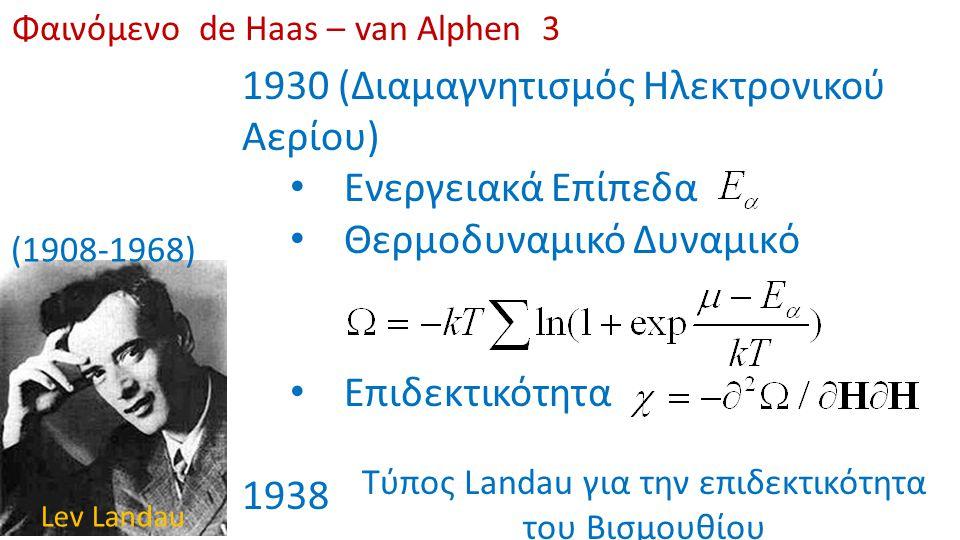 Φαινόμενο de Haas – van Alphen 3 (1908-1968) Lev Landau 1930 (Διαμαγνητισμός Ηλεκτρονικού Αερίου) Ενεργειακά Επίπεδα Θερμοδυναμικό Δυναμικό Επιδεκτικό