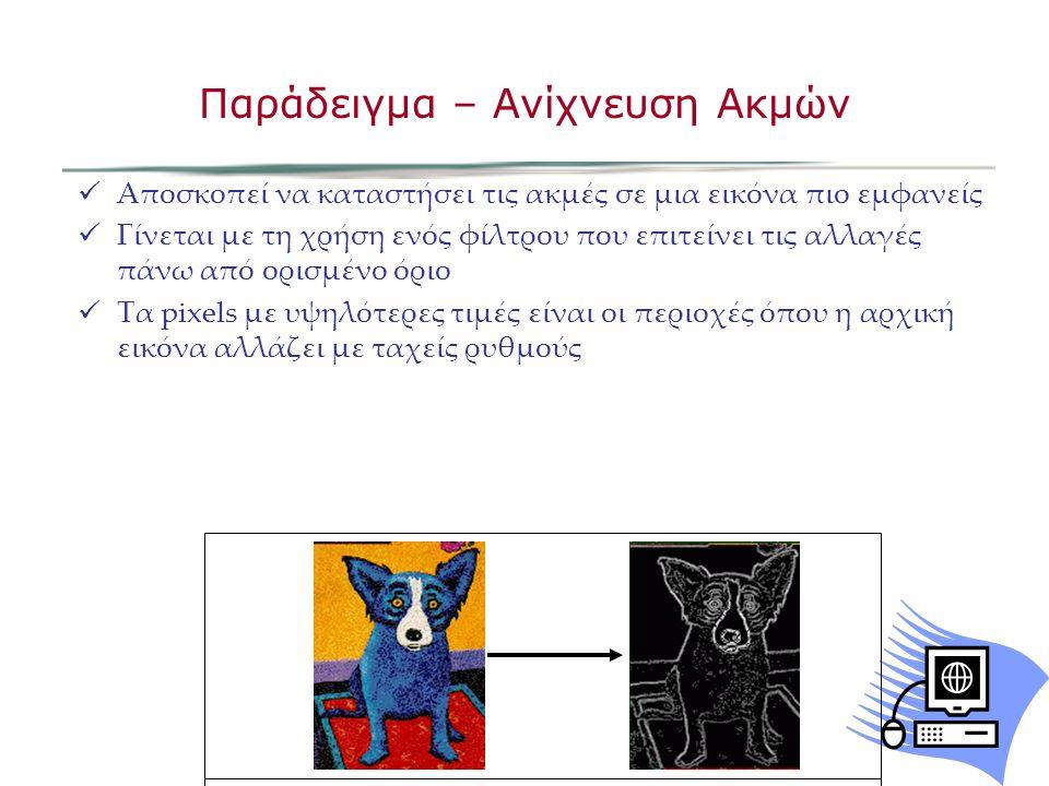 Αποσκοπεί να καταστήσει τις ακμές σε μια εικόνα πιο εμφανείς Γίνεται με τη χρήση ενός φίλτρου που επιτείνει τις αλλαγές πάνω από ορισμένο όριο Τα pixels με υψηλότερες τιμές είναι οι περιοχές όπου η αρχική εικόνα αλλάζει με ταχείς ρυθμούς Παράδειγμα – Ανίχνευση Ακμών