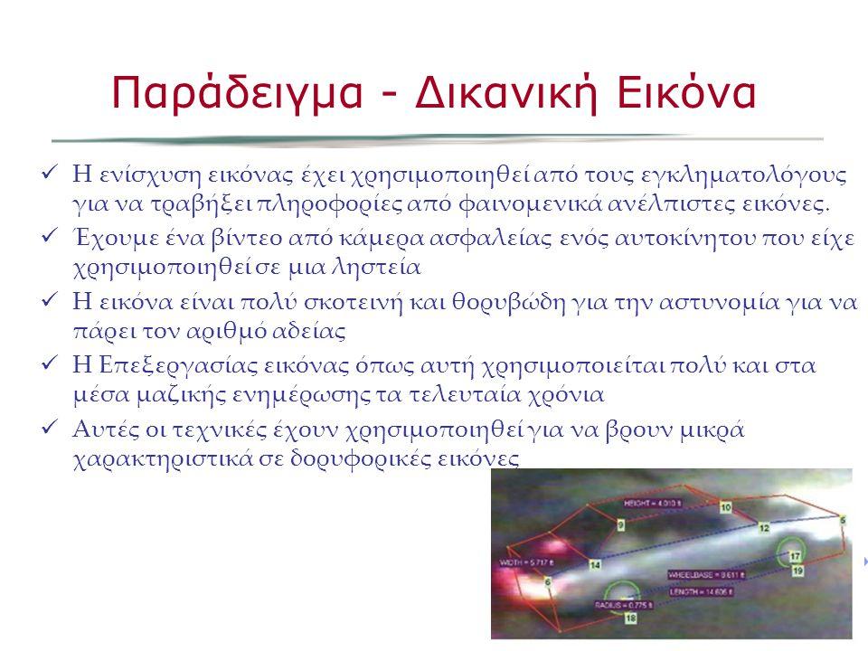 Η ενίσχυση εικόνας έχει χρησιμοποιηθεί από τους εγκληματολόγους για να τραβήξει πληροφορίες από φαινομενικά ανέλπιστες εικόνες.