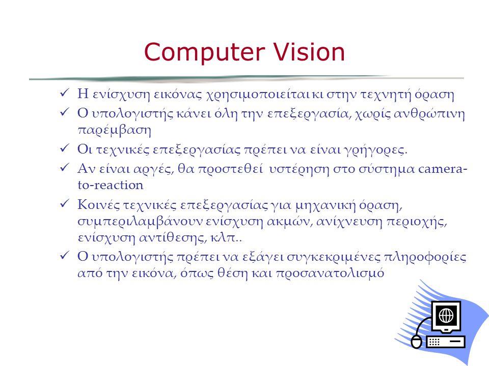 Η ενίσχυση εικόνας χρησιμοποιείται κι στην τεχνητή όραση Ο υπολογιστής κάνει όλη την επεξεργασία, χωρίς ανθρώπινη παρέμβαση Οι τεχνικές επεξεργασίας πρέπει να είναι γρήγορες.