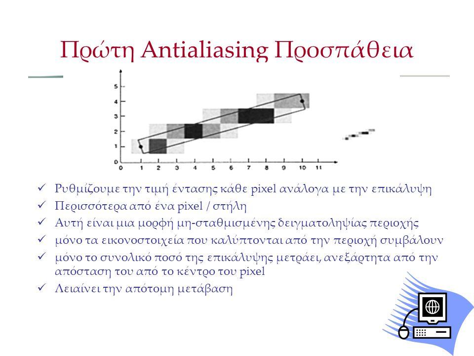 Ρυθμίζουμε την τιμή έντασης κάθε pixel ανάλογα με την επικάλυψη Περισσότερα από ένα pixel / στήλη Αυτή είναι μια μορφή μη-σταθμισμένης δειγματοληψίας περιοχής μόνο τα εικονοστοιχεία που καλύπτονται από την περιοχή συμβάλουν μόνο το συνολικό ποσό της επικάλυψης μετράει, ανεξάρτητα από την απόσταση του από το κέντρο του pixel Λειαίνει την απότομη μετάβαση Πρώτη Antialiasing Προσπάθεια