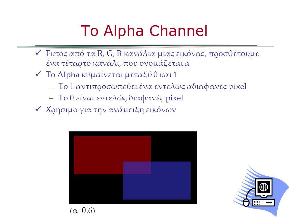 Εκτός από τα R, G, B κανάλια μιας εικόνας, προσθέτουμε ένα τέταρτο κανάλι, που ονομάζεται α Το Alpha κυμαίνεται μεταξύ 0 και 1 –Το 1 αντιπροσωπεύει ένα εντελώς αδιαφανές pixel –Το 0 είναι εντελώς διαφανές pixel Χρήσιμο για την ανάμειξη εικόνων Το Alpha Channel (α=0.6)