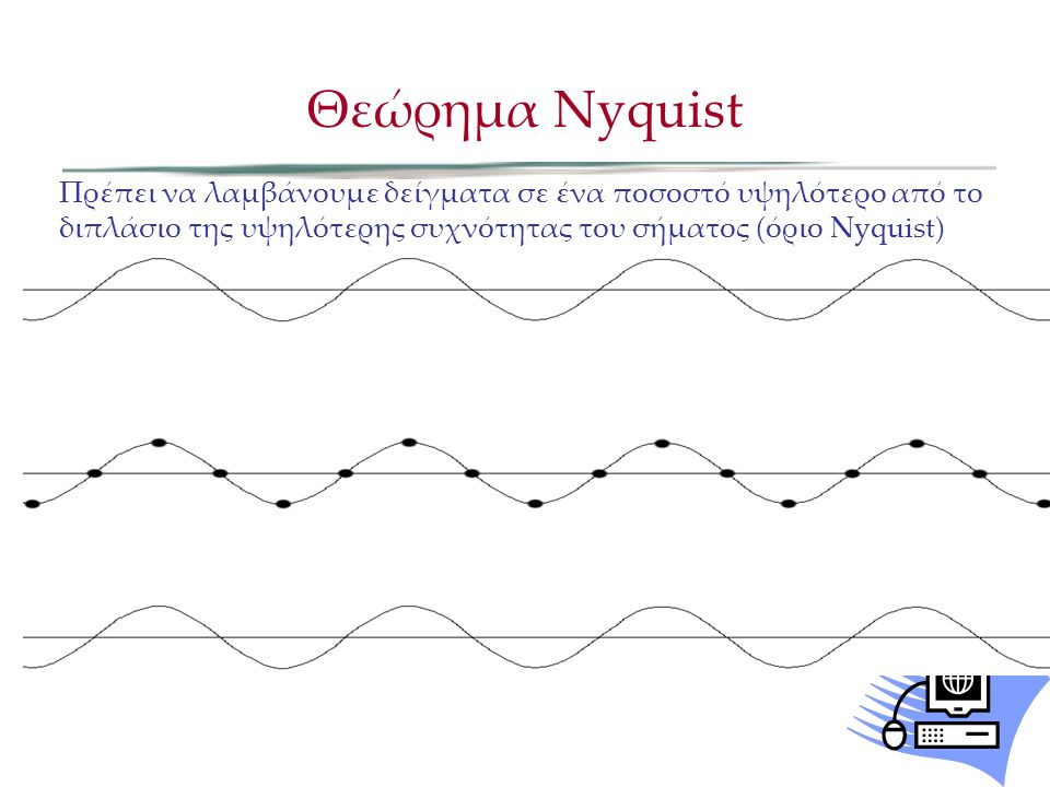 Here is an approximate analog sine wave: Θεώρημα Nyquist Πρέπει να λαμβάνουμε δείγματα σε ένα ποσοστό υψηλότερο από το διπλάσιο της υψηλότερης συχνότη