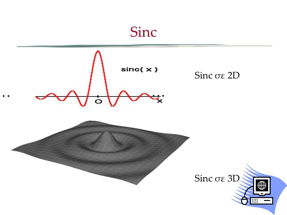 Sinc Sinc σε 2D Sinc σε 3D … …