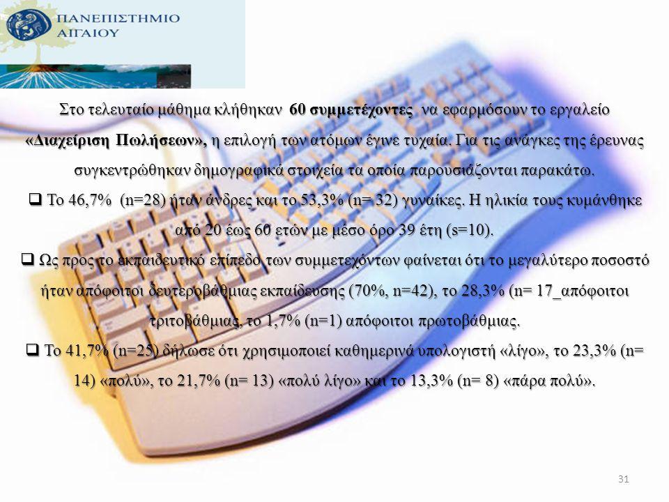 Ως προς το εκπαιδευτικό επίπεδο των συμμετεχόντων φαίνεται ότι το μεγαλύτερο ποσοστό ήταν απόφοιτοι δευτεροβάθμιας εκπαίδευσης (68%, n=102), το 24,7%