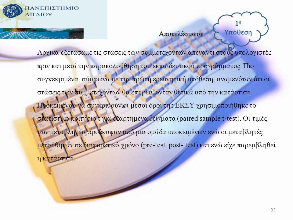 32 Εργαλεία 1.Η Ελληνική Κλίμακα των Στάσεων Απέναντι στους Υπολογιστές (Roussos, 2007). 2. Ερωτηματολόγιο Δημογραφικών Στοιχείων. 3.Η Εφαρμογή «Διαχε
