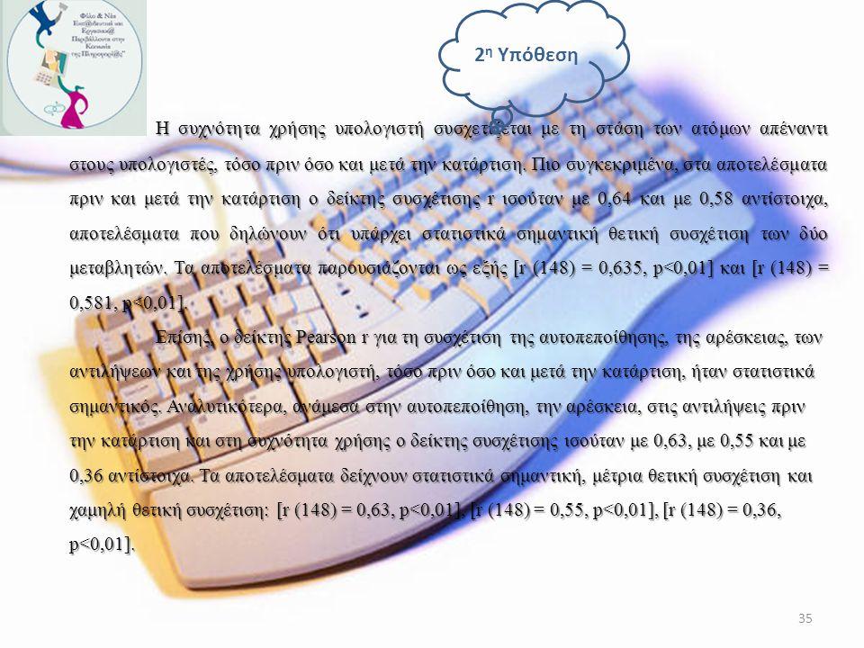 Σύμφωνα με τα αποτελέσματα, η διαφορά ανάμεσα στους μέσους όρους των συμμετεχόντων ως προς τις στάσεις τους απέναντι στους υπολογιστές πριν και μετά τ