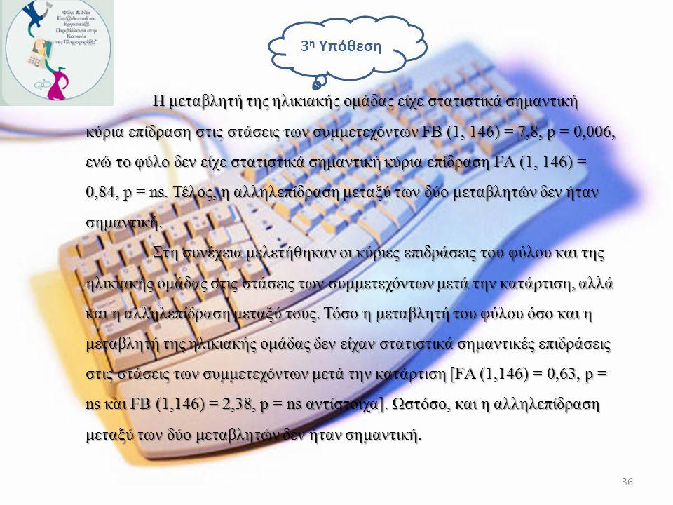 H συχνότητα χρήσης υπολογιστή συσχετίζεται με τη στάση των ατόμων απέναντι στους υπολογιστές, τόσο πριν όσο και μετά την κατάρτιση. Πιο συγκεκριμένα,