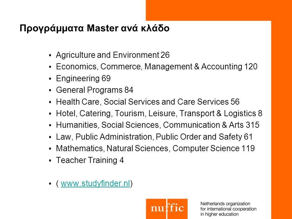 Προγράμματα Master ανά κλάδο Agriculture and Environment 26 Economics, Commerce, Management & Accounting 120 Engineering 69 General Programs 84 Health