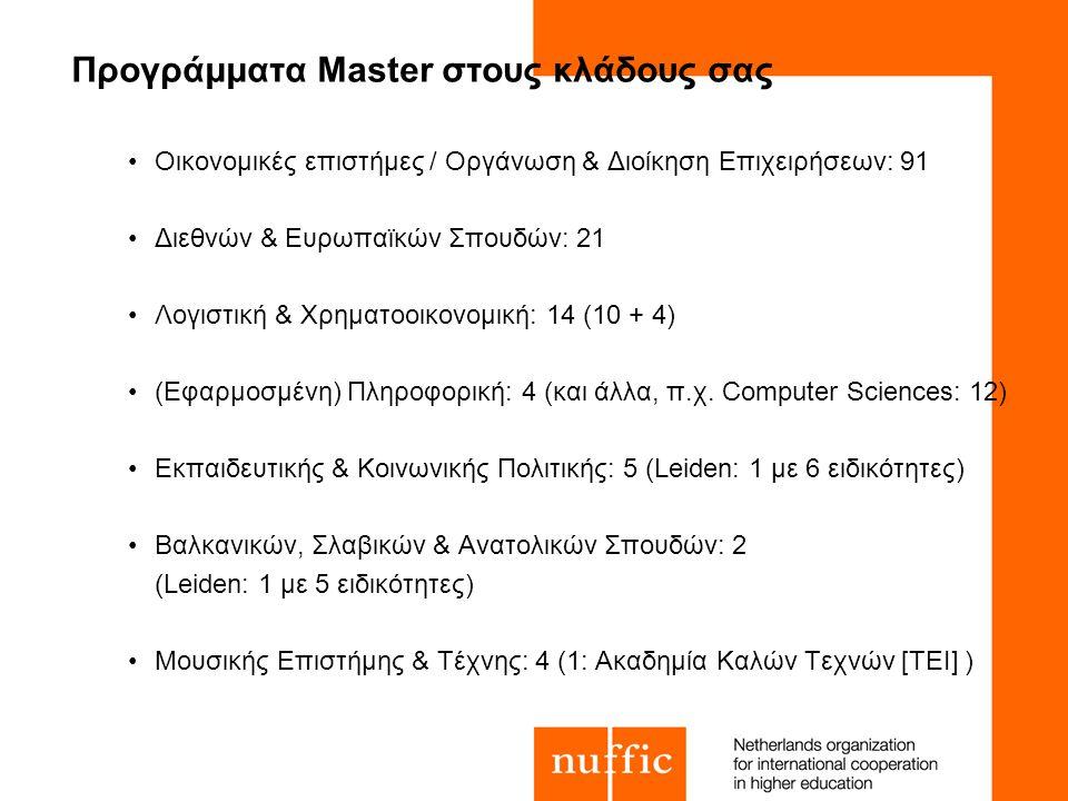 Προγράμματα Master στους κλάδους σας Οικονομικές επιστήμες / Οργάνωση & Διοίκηση Επιχειρήσεων: 91 Διεθνών & Ευρωπαϊκών Σπουδών: 21 Λογιστική & Χρηματοοικονομική: 14 (10 + 4) (Εφαρμοσμένη) Πληροφορική: 4 (και άλλα, π.χ.