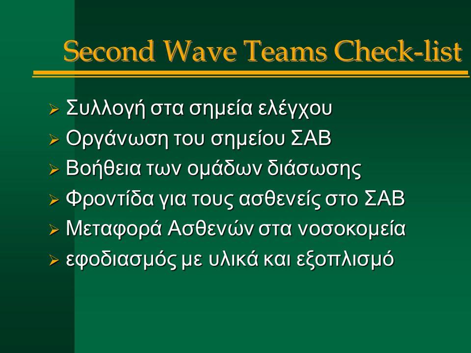  Συλλογή στα σημεία ελέγχου  Οργάνωση του σημείου ΣΑΒ  Βοήθεια των ομάδων διάσωσης  Φροντίδα για τους ασθενείς στο ΣΑΒ  Μεταφορά Ασθενών στα νοσοκομεία  εφοδιασμός με υλικά και εξοπλισμό Second Wave Teams Check-list