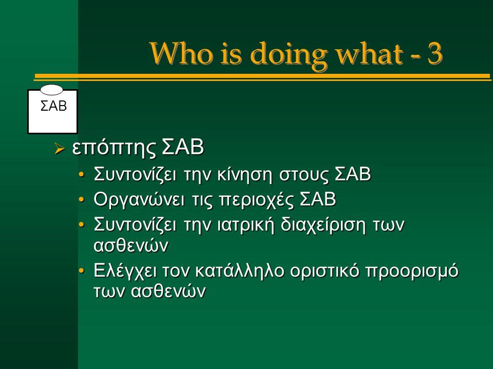 Who is doing what - 3  επόπτης ΣΑΒ Συντονίζει την κίνηση στους ΣΑΒ Συντονίζει την κίνηση στους ΣΑΒ Οργανώνει τις περιοχές ΣΑΒ Οργανώνει τις περιοχές