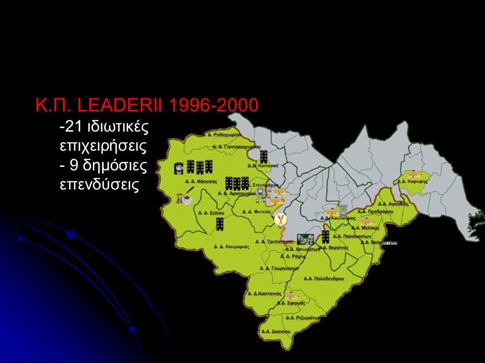 Κ.Π. LEADER Κ.Π. LEADERII 1996-2000 ιδιωτικές -21 ιδιωτικέςεπιχειρήσεις - 9 δημόσιες επενδύσεις