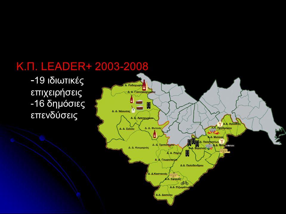 Κ.Π. LEADER+ 2003-2008 - 19 ιδιωτικές επιχειρήσεις -16 δημόσιες επενδύσεις