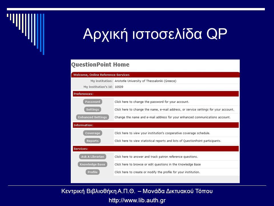 Κεντρική Βιβλιοθήκη Α.Π.Θ. – Μονάδα Δικτυακού Τόπου http://www.lib.auth.gr Αρχική ιστοσελίδα QP