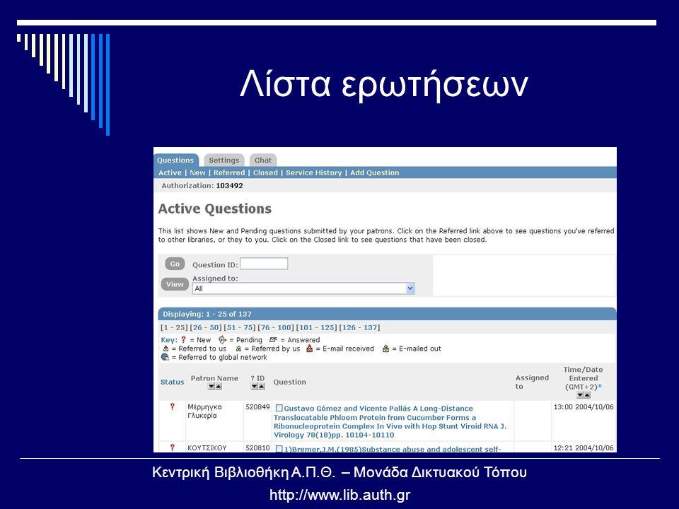 Κεντρική Βιβλιοθήκη Α.Π.Θ. – Μονάδα Δικτυακού Τόπου http://www.lib.auth.gr Λίστα ερωτήσεων