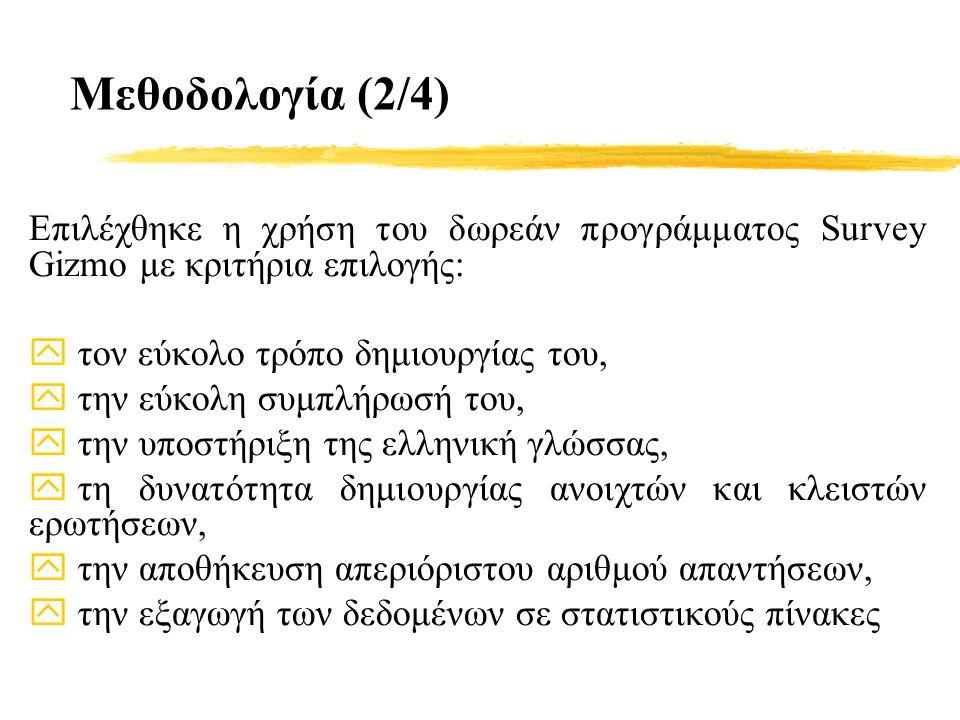 Μεθοδολογία (2/4) Επιλέχθηκε η χρήση του δωρεάν προγράμματος Survey Gizmo με κριτήρια επιλογής: y τον εύκολο τρόπο δημιουργίας του, y την εύκολη συμπλήρωσή του, y την υποστήριξη της ελληνική γλώσσας, y τη δυνατότητα δημιουργίας ανοιχτών και κλειστών ερωτήσεων, y την αποθήκευση απεριόριστου αριθμού απαντήσεων, y την εξαγωγή των δεδομένων σε στατιστικούς πίνακες