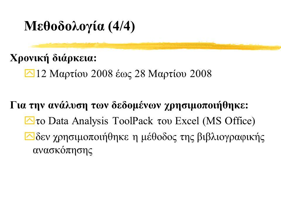Χρονική διάρκεια: y12 Μαρτίου 2008 έως 28 Μαρτίου 2008 Για την ανάλυση των δεδομένων χρησιμοποιήθηκε: yτο Data Analysis ToolPack του Excel (MS Office) yδεν χρησιμοποιήθηκε η μέθοδος της βιβλιογραφικής ανασκόπησης Μεθοδολογία (4/4)