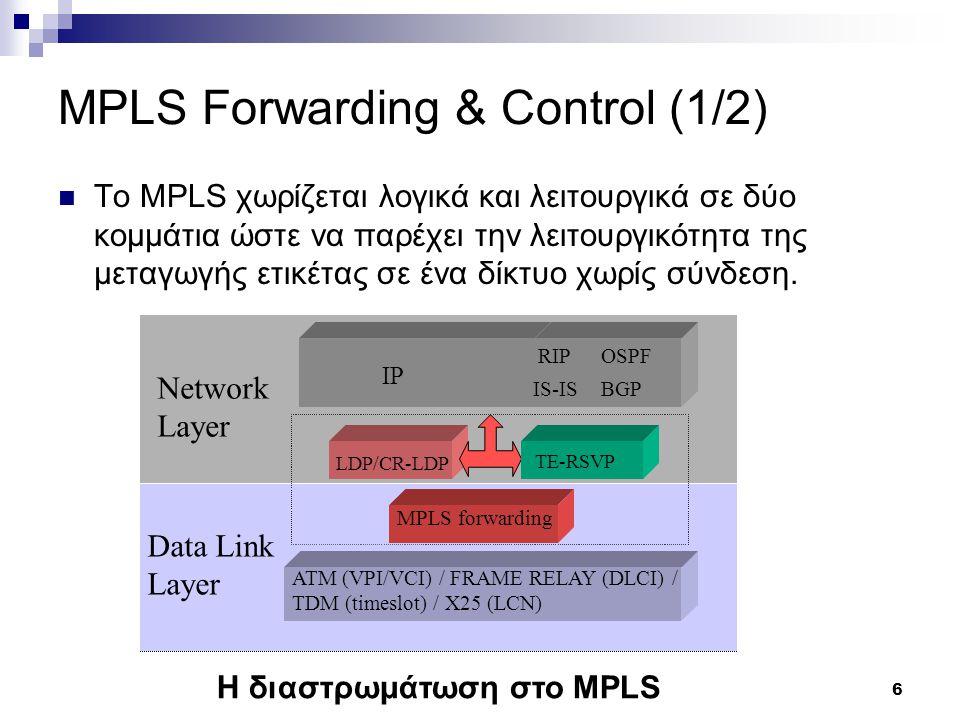 6 MPLS Forwarding & Control (1/2) Το MPLS χωρίζεται λογικά και λειτουργικά σε δύο κομμάτια ώστε να παρέχει την λειτουργικότητα της μεταγωγής ετικέτας σε ένα δίκτυο χωρίς σύνδεση.