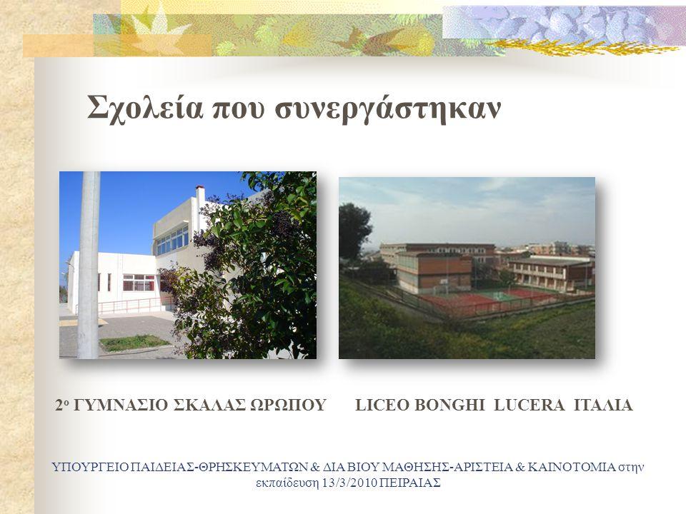 Σχολεία που συνεργάστηκαν ΥΠΟΥΡΓΕΙΟ ΠΑΙΔΕΙΑΣ-ΘΡΗΣΚΕΥΜΑΤΩΝ & ΔΙΑ ΒΙΟΥ ΜΑΘΗΣΗΣ-ΑΡΙΣΤΕΙΑ & ΚΑΙΝΟΤΟΜΙΑ στην εκπαίδευση 13/3/2010 ΠΕΙΡΑΙΑΣ 2 ο ΓΥΜΝΑΣΙΟ ΣΚΑΛΑΣ ΩΡΩΠΟΥLICEO BONGHI LUCERA ΙΤΑΛΙΑ