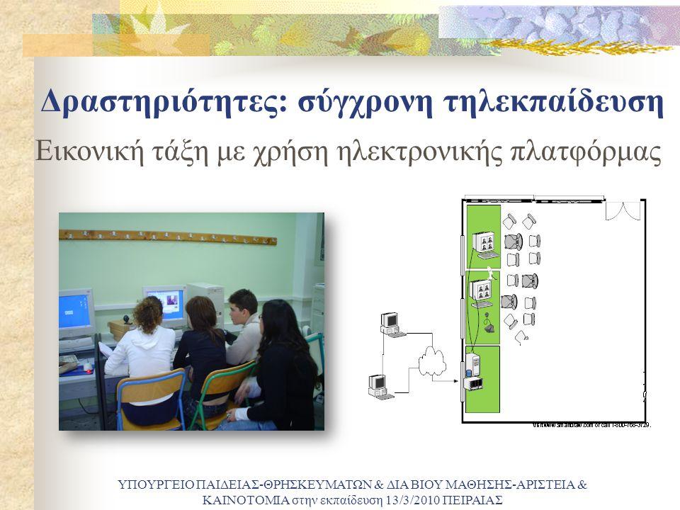 Δραστηριότητες: σύγχρονη τηλεκπαίδευση ΥΠΟΥΡΓΕΙΟ ΠΑΙΔΕΙΑΣ-ΘΡΗΣΚΕΥΜΑΤΩΝ & ΔΙΑ ΒΙΟΥ ΜΑΘΗΣΗΣ-ΑΡΙΣΤΕΙΑ & ΚΑΙΝΟΤΟΜΙΑ στην εκπαίδευση 13/3/2010 ΠΕΙΡΑΙΑΣ Εικονική τάξη με χρήση ηλεκτρονικής πλατφόρμας