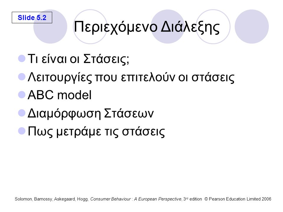 Slide 5.2 Solomon, Bamossy, Askegaard, Hogg, Consumer Behaviour : A European Perspective, 3 rd edition © Pearson Education Limited 2006 Περιεχόμενο Δι