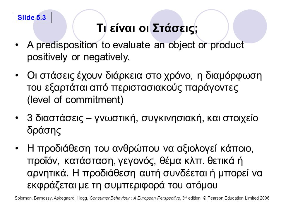 Slide 5.4 Solomon, Bamossy, Askegaard, Hogg, Consumer Behaviour : A European Perspective, 3 rd edition © Pearson Education Limited 2006 Πως οι περιστάσεις μπορεί να επηρεάζουν τις στάσεις; Coppertone Oil Free Sunscreen It sounds like a good idea to use an oil free sunscreen when involved in summer sports activities. Active sports in the sun Cannon Color Printers Now that they have gone down in price so much, it's time for me to buy a color printer. Old PC printer ceases to work Hilton Resorts and Casinos I worked hard; I earned a couple of days away to relax. Exhausted, time or a weekend get-a-way Altoids Mints I really need a strong mint after I drink a large cup of coffee. Bad taste in one's mouth PRODUCT/SERVICEATTITUDESITUATION