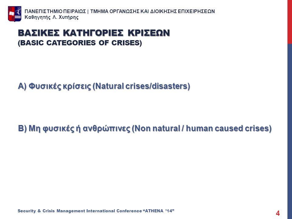 ΠΑΝΕΠΙΣΤΗΜΙΟ ΠΕΙΡΑΙΩΣ | ΤΜΗΜΑ ΟΡΓΑΝΩΣΗΣ ΚΑΙ ΔΙΟΙΚΗΣΗΣ ΕΠΙΧΕΙΡΗΣΕΩΝ Καθηγητής Λ. Χυτήρης Α) Φυσικές κρίσεις (Natural crises/disasters) Β) Μη φυσικές ή