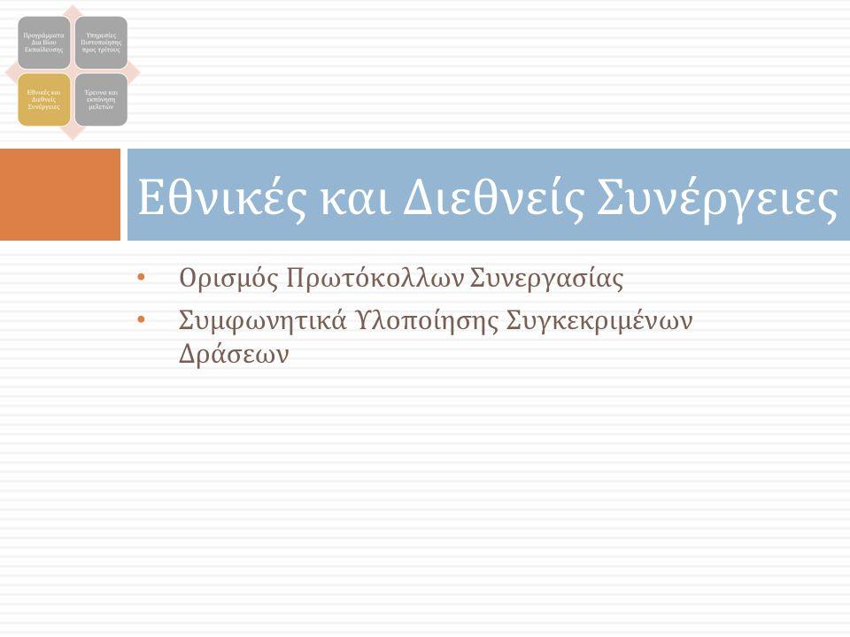 Εθνικές και Διεθνείς Συνέργειες Ορισμός Πρωτόκολλων Συνεργασίας Συμφωνητικά Υλοποίησης Συγκεκριμένων Δράσεων