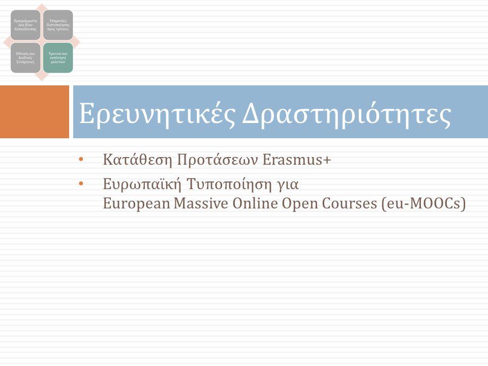 Ερευνητικές Δραστηριότητες Κατάθεση Προτάσεων Erasmus+ Ευρωπαϊκή Τυποποίηση για European Massive Online Open Courses (eu-MOOCs)
