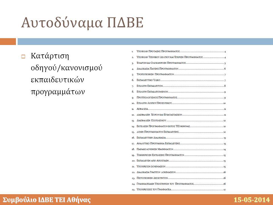 Συμβούλιο ΙΔΒΕ ΤΕΙ Αθήνας 15-05-2014 Αυτοδύναμα ΠΔΒΕ  Κατάρτιση οδηγού/κανονισμού εκπαιδευτικών προγραμμάτων