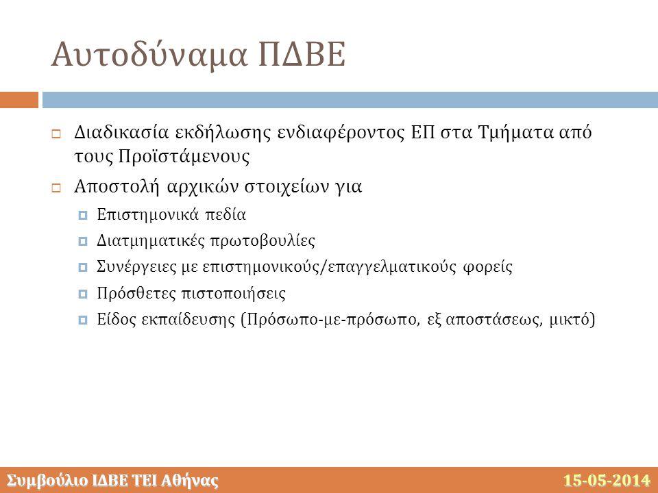 Συμβούλιο ΙΔΒΕ ΤΕΙ Αθήνας 15-05-2014 Αυτοδύναμα ΠΔΒΕ  Διαδικασία εκδήλωσης ενδιαφέροντος ΕΠ στα Τμήματα από τους Προϊστάμενους  Αποστολή αρχικών στο