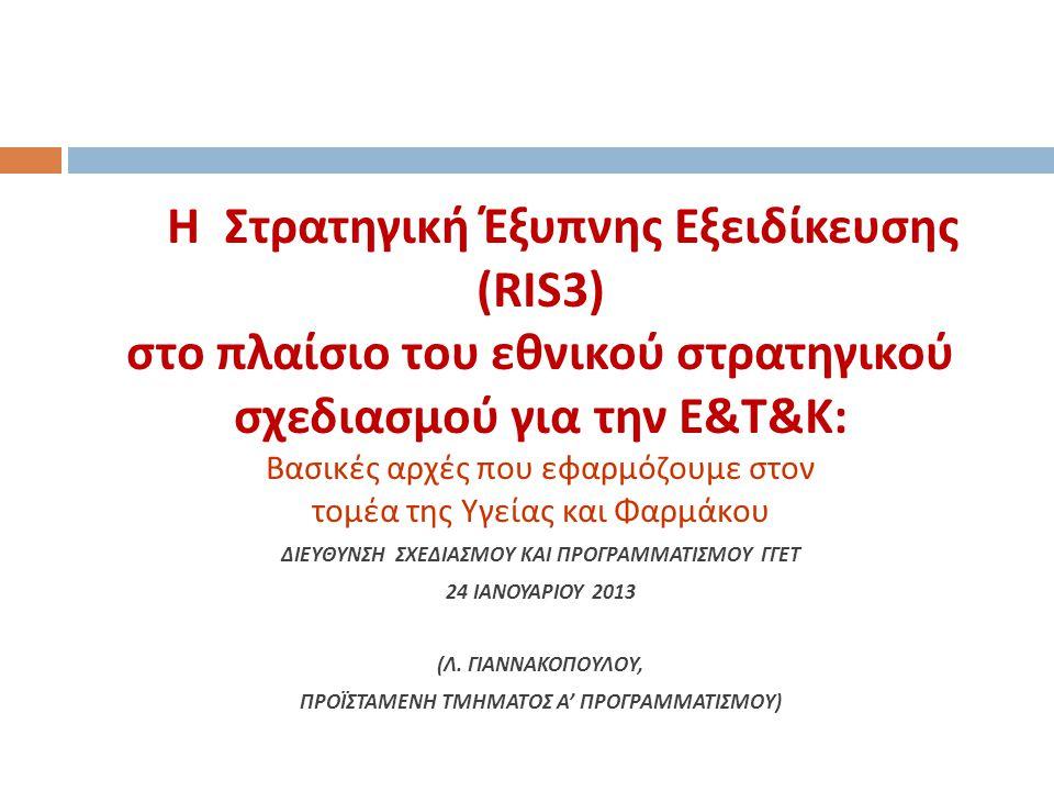 H Στρατηγική Έξυπνης Εξειδίκευσης (RIS3) στο πλαίσιο του εθνικού στρατηγικού σχεδιασμού για την Ε&Τ&Κ: Βασικές αρχές που εφαρμόζουμε στον τομέα της Υγείας και Φαρμάκου ΔΙΕΥΘΥΝΣΗ ΣΧΕΔΙΑΣΜΟΥ ΚΑΙ ΠΡΟΓΡΑΜΜΑΤΙΣΜΟΥ ΓΓΕΤ 24 IANOYAΡIOY 2013 (Λ.