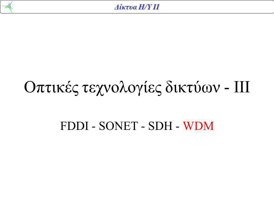 Δίκτυα Η/Υ ΙΙ Οπτικές τεχνολογίες δικτύων - ΙΙΙ FDDI - SONET - SDH - WDM