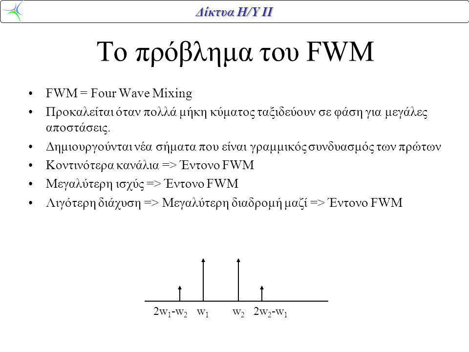 Δίκτυα Η/Υ ΙΙ Το πρόβλημα του FWM FWM = Four Wave Mixing Προκαλείται όταν πολλά μήκη κύματος ταξιδεύουν σε φάση για μεγάλες αποστάσεις. Δημιουργούνται