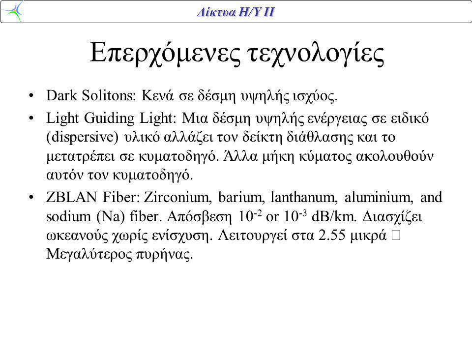 Δίκτυα Η/Υ ΙΙ Επερχόμενες τεχνολογίες Dark Solitons: Κενά σε δέσμη υψηλής ισχύος. Light Guiding Light: Μια δέσμη υψηλής ενέργειας σε ειδικό (dispersiv