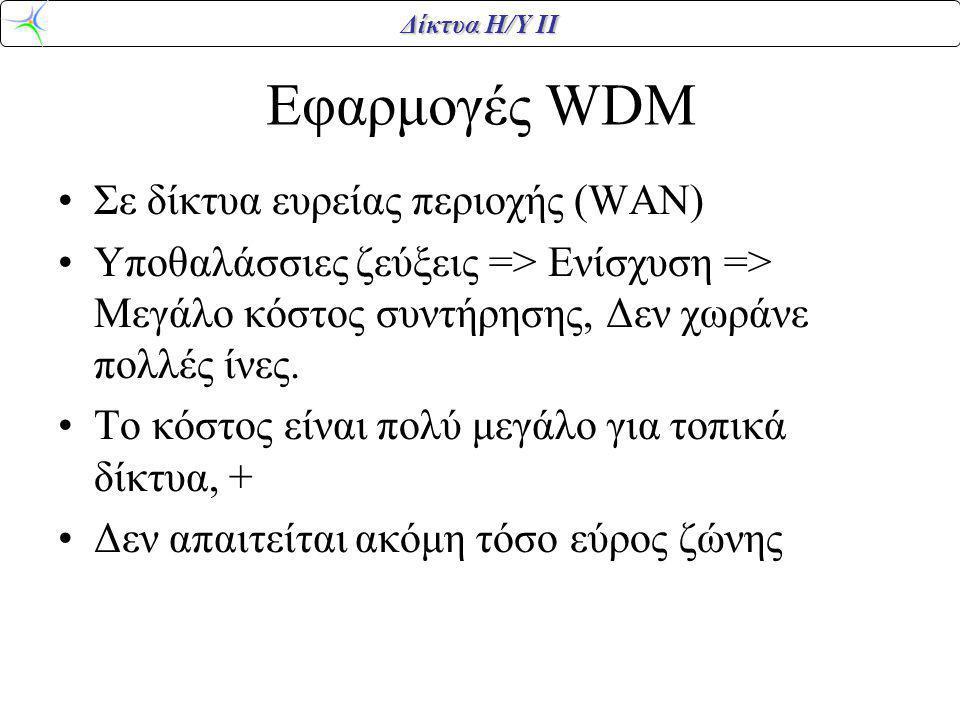 Δίκτυα Η/Υ ΙΙ Εφαρμογές WDM Σε δίκτυα ευρείας περιοχής (WAN) Υποθαλάσσιες ζεύξεις => Ενίσχυση => Μεγάλο κόστος συντήρησης, Δεν χωράνε πολλές ίνες. Το