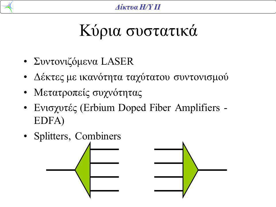 Δίκτυα Η/Υ ΙΙ Κύρια συστατικά Συντονιζόμενα LASER Δέκτες με ικανότητα ταχύτατου συντονισμού Μετατροπείς συχνότητας Ενισχυτές (Erbium Doped Fiber Ampli