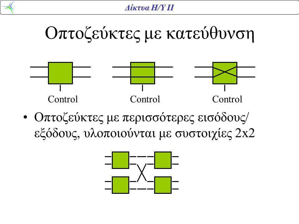 Δίκτυα Η/Υ ΙΙ Οπτοζεύκτες με κατεύθυνση Οπτοζεύκτες με περισσότερες εισόδους/ εξόδους, υλοποιούνται με συστοιχίες 2x2 Control