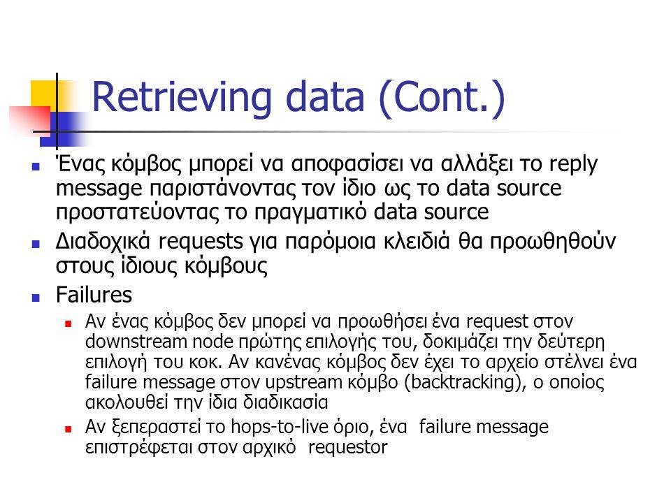 Retrieving data (Cont.) Ένας κόμβος μπορεί να αποφασίσει να αλλάξει το reply message παριστάνοντας τον ίδιο ως το data source προστατεύοντας το πραγματικό data source Διαδοχικά requests για παρόμοια κλειδιά θα προωθηθούν στους ίδιους κόμβους Failures Αν ένας κόμβος δεν μπορεί να προωθήσει ένα request στον downstream node πρώτης επιλογής του, δοκιμάζει την δεύτερη επιλογή του κοκ.