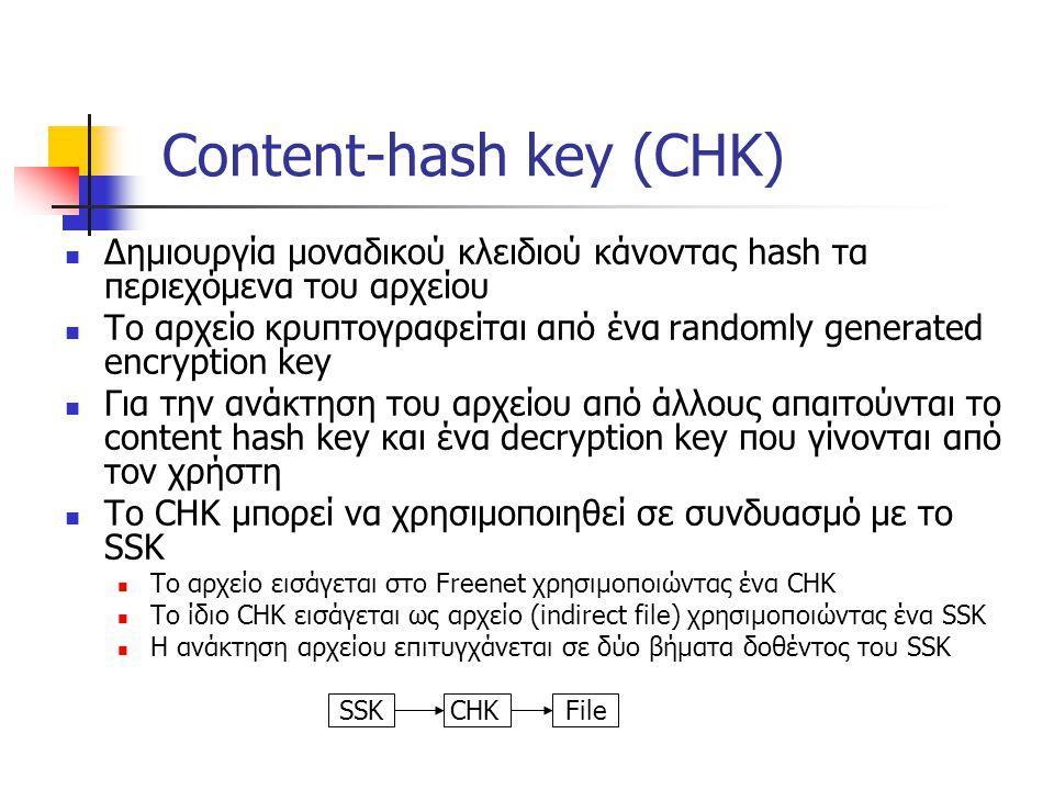 Content-hash key (CHK) Δημιουργία μοναδικού κλειδιού κάνοντας hash τα περιεχόμενα του αρχείου Το αρχείο κρυπτογραφείται από ένα randomly generated encryption key Για την ανάκτηση του αρχείου από άλλους απαιτούνται το content hash key και ένα decryption key που γίνονται από τον χρήστη Το CHK μπορεί να χρησιμοποιηθεί σε συνδυασμό με το SSK Το αρχείο εισάγεται στο Freenet χρησιμοποιώντας ένα CHK Το ίδιο CHK εισάγεται ως αρχείο (indirect file) χρησιμοποιώντας ένα SSK Η ανάκτηση αρχείου επιτυγχάνεται σε δύο βήματα δοθέντος του SSK SSK CHK File