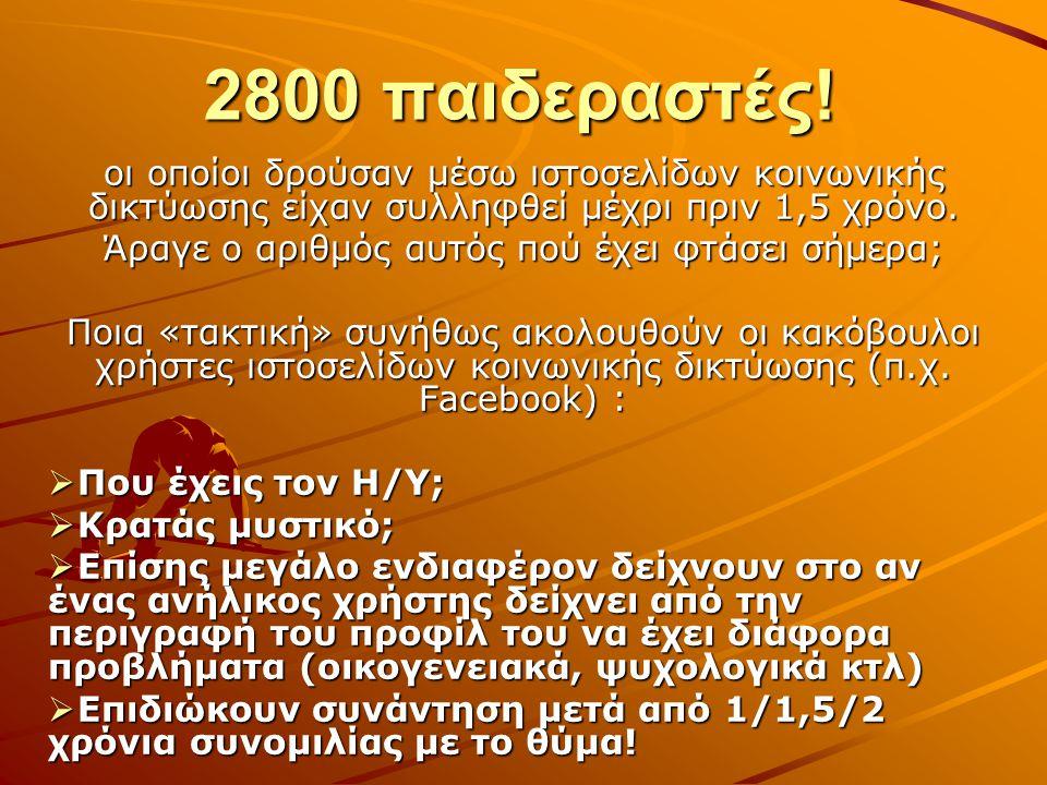 2800 παιδεραστές! οι οποίοι δρούσαν μέσω ιστοσελίδων κοινωνικής δικτύωσης είχαν συλληφθεί μέχρι πριν 1,5 χρόνο. Άραγε ο αριθμός αυτός πού έχει φτάσει