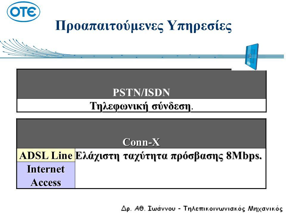 Προαπαιτούμενες Υπηρεσίες PSTN/ISDN Τηλεφωνική σύνδεση Τηλεφωνική σύνδεση. Conn-X ADSL Line Ελάχιστη ταχύτητα πρόσβασης 8Μbps. Internet Access